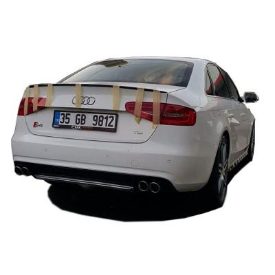 Audi A4 B8 Makyajlı 2012 - 2016 S4 Arka Tampon Eki - Difüzör (Plastik)