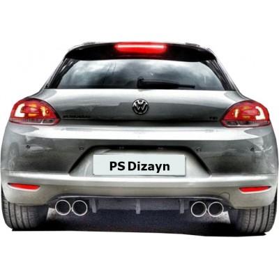 Volkswagen Scirocco (2009-2014) Makyajsız PS Arka Tampon Eki - Difüzör (Plastik)
