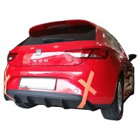Seat Leon MK3 5F 2013 - 2016 Style Custom Arka Tampon Eki - Difüzör  (Plastik)