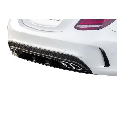Mercedes C Serisi W205 2015 Sonrası Arka Tampon Kaşları (Parlak Siyah)