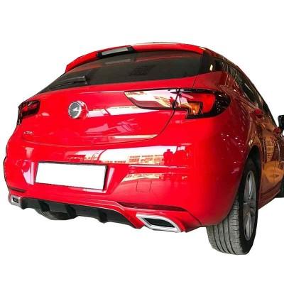 Opel Astra K 2016 Sonrası Egzoz Görünümlü Arka Tampon Eki - Difüzör (Plastik)
