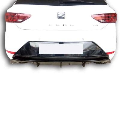 Seat Leon (2017 - 2019)  Çift Çıkış Arka Tampon Eki - Difüzör (Plastik)