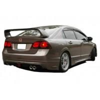Honda Civic FD6 (2006 - 2012) Arası Mugen RR Sağdan Çift Çıkış Arka Tampon Eki (Plastik)