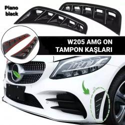 Mercedes C Serisi W205 (2018 ve sonrası) Makyajlı Kasa AMG Uyumlu Ön Kaşlar (Parlak Siyah)